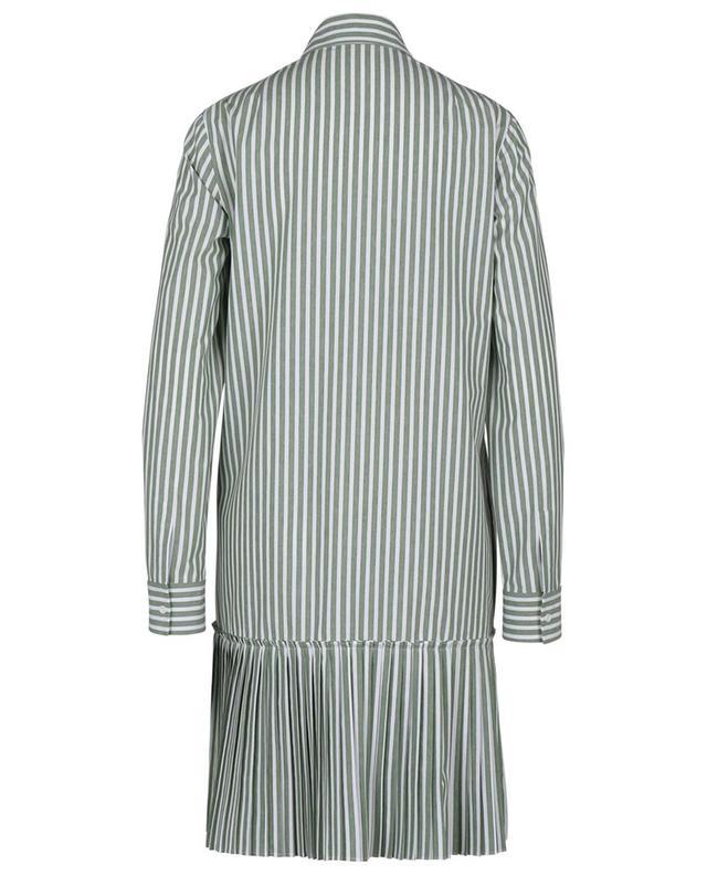 Robe tunique rayée courte à basque plissé AKRIS PUNTO