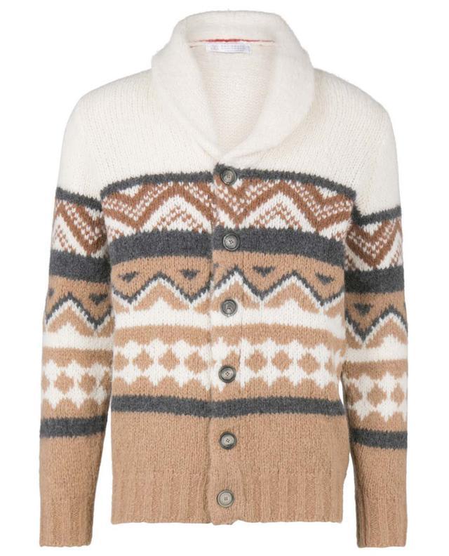 Cardigan boutonné en laines mélangées BRUNELLO CUCINELLI