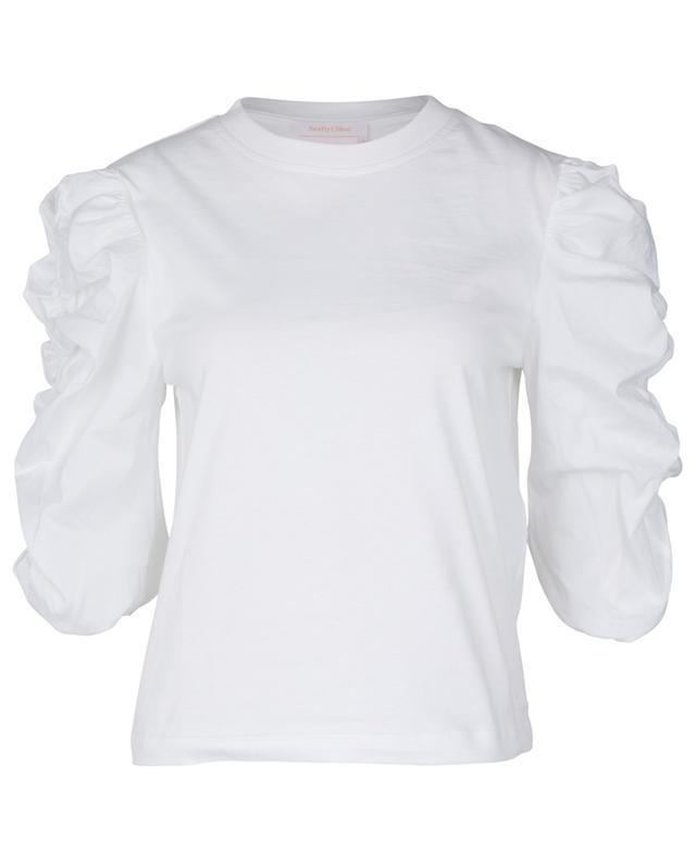 T-shirt bi-matière à manches bouffantes froncées SEE BY CHLOE