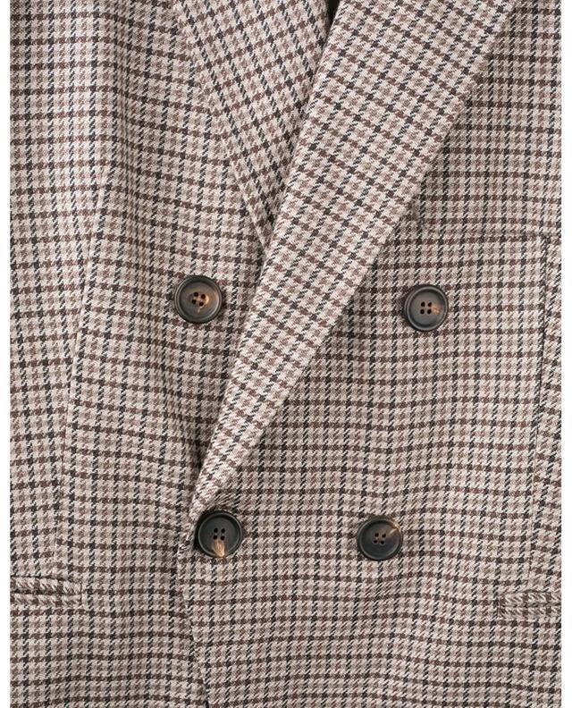 Costume en lin mélangé imprimé pied-de-poule BRUNELLO CUCINELLI