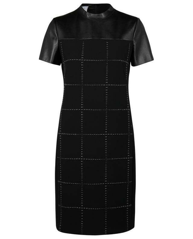 Robe courte en crêpe et cuir synthétique motif grille AKRIS PUNTO