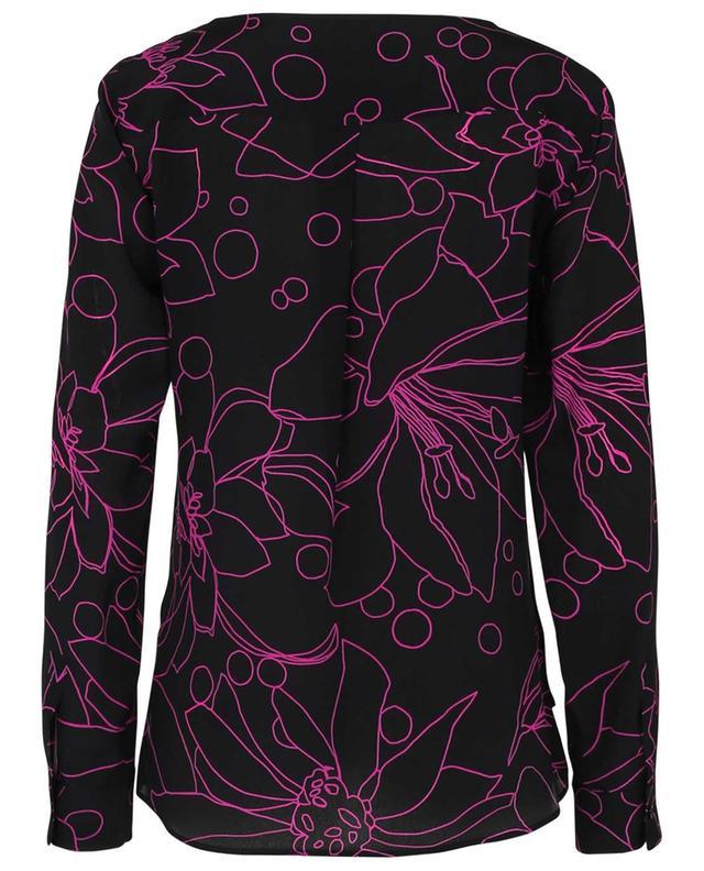 Blouse en soie noire avec fleurs rose fluo AKRIS PUNTO