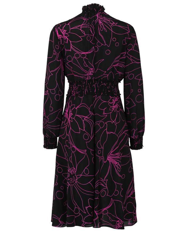 Robe évasée en soie noire fleurie à smocks et manches bouffantes AKRIS PUNTO