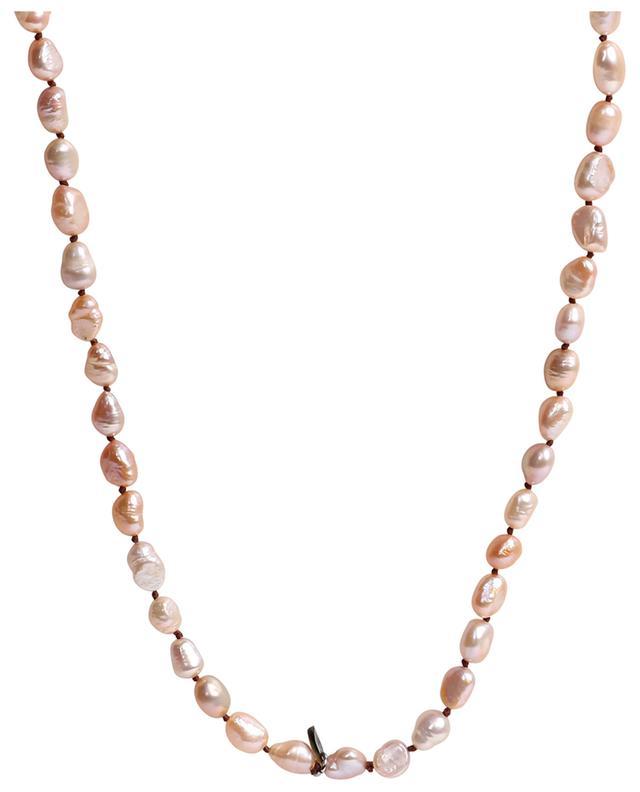 Sautoir en perles roses irrégulières pendentif trèfle MOON°C PARIS