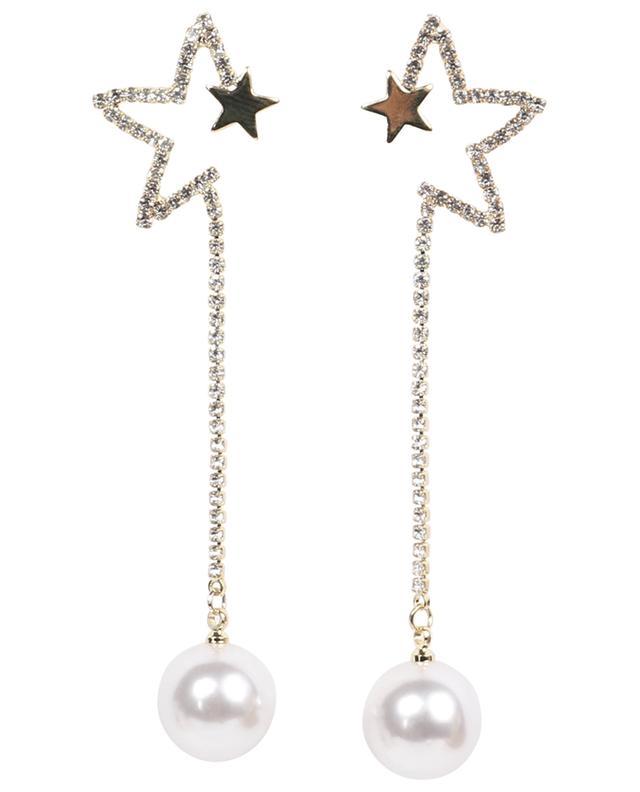 Boucles d'oreilles longues étoile, strass et perles MOON°C PARIS