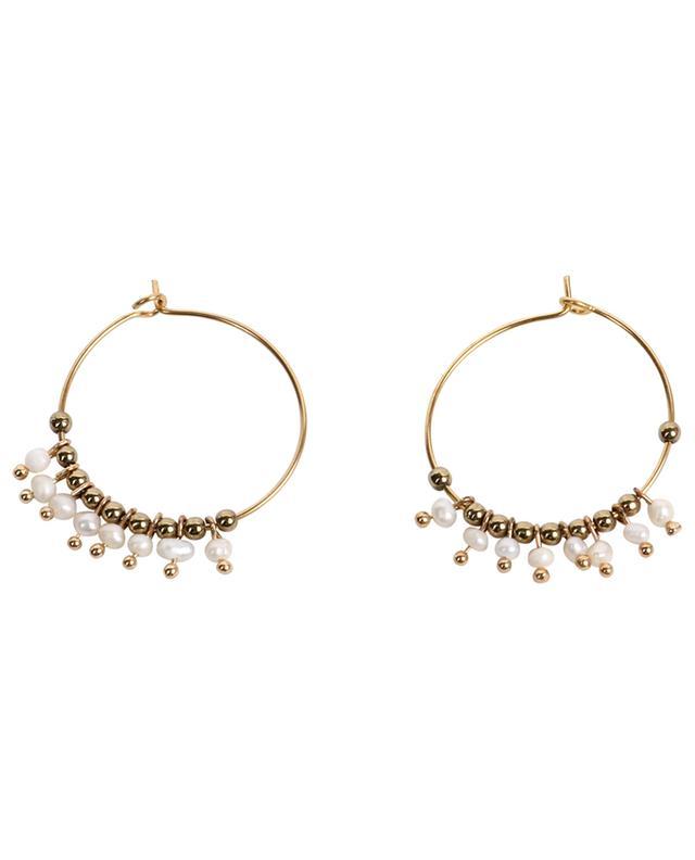 Créoles embellies de perles blanches et couleur bronze MOON°C PARIS