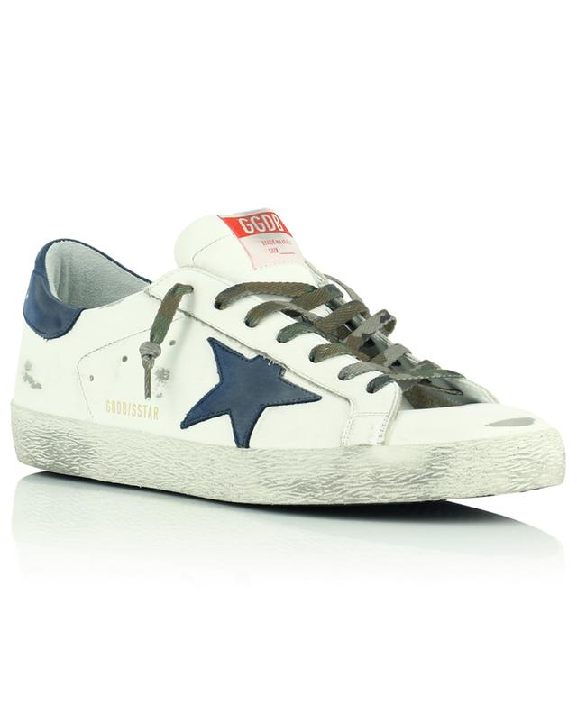 Baskets blanches en cuir étoile bleu marine Super-Star Classic GOLDEN GOOSE