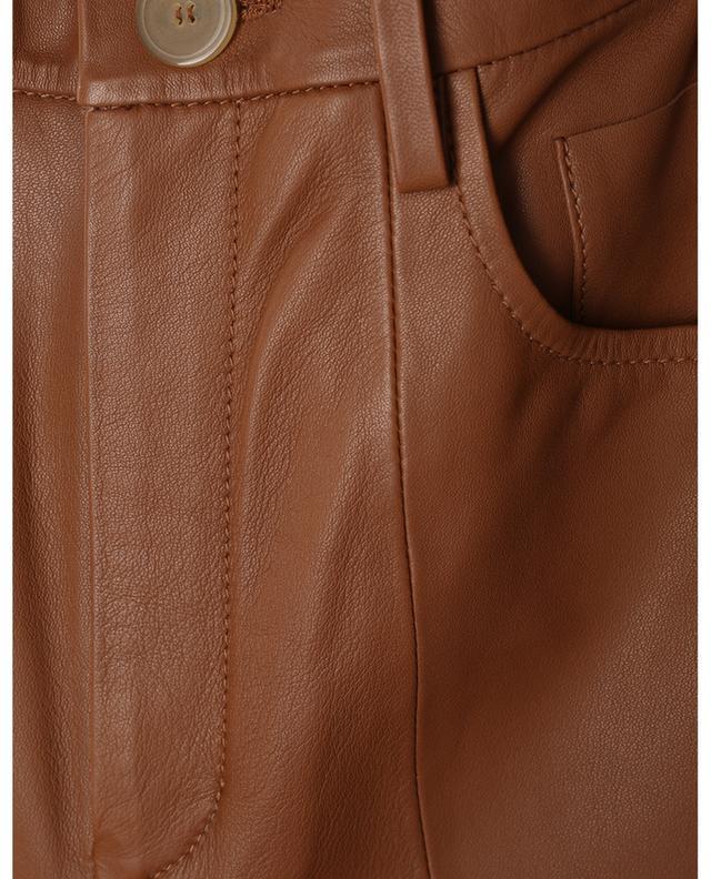Pantalon droit taille haute en cuir nappa Caramel FORTE FORTE