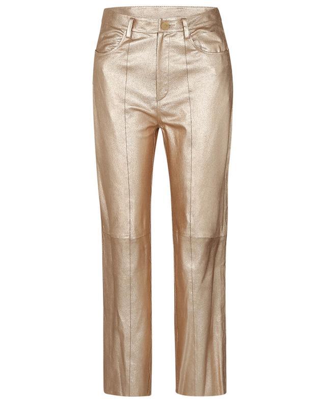 Pantalon droit en cuir doré Lamé Nappa FORTE FORTE