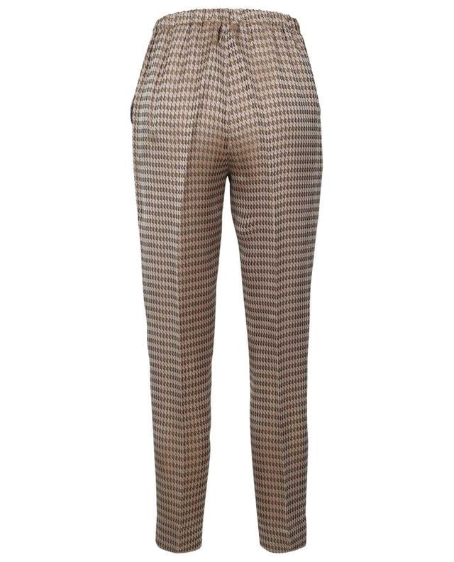 Pantalon à pinces en jacquard irisé motif pied-de-poule FORTE FORTE