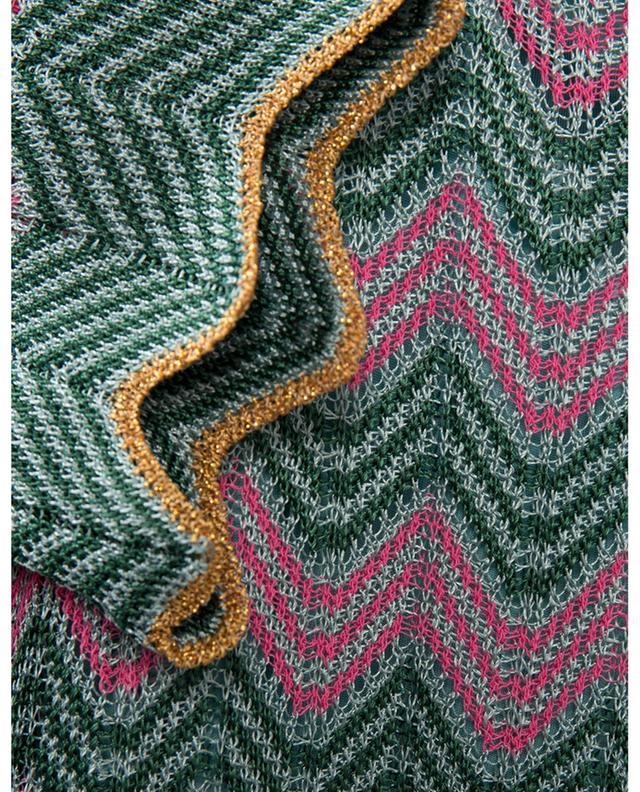 Robe midi en maille ajourée motifs zigzag verts et roses M MISSONI