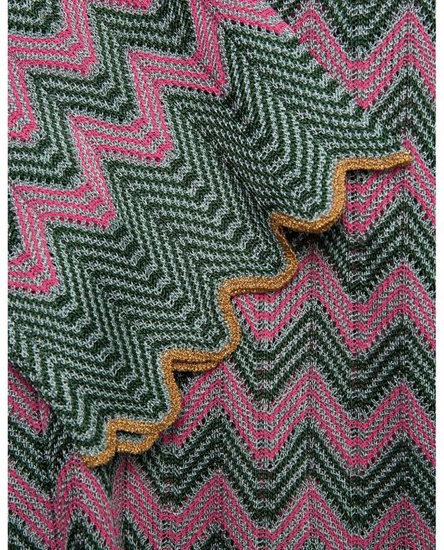 Pull fin ajouré motifs zigzag verts et roses M MISSONI