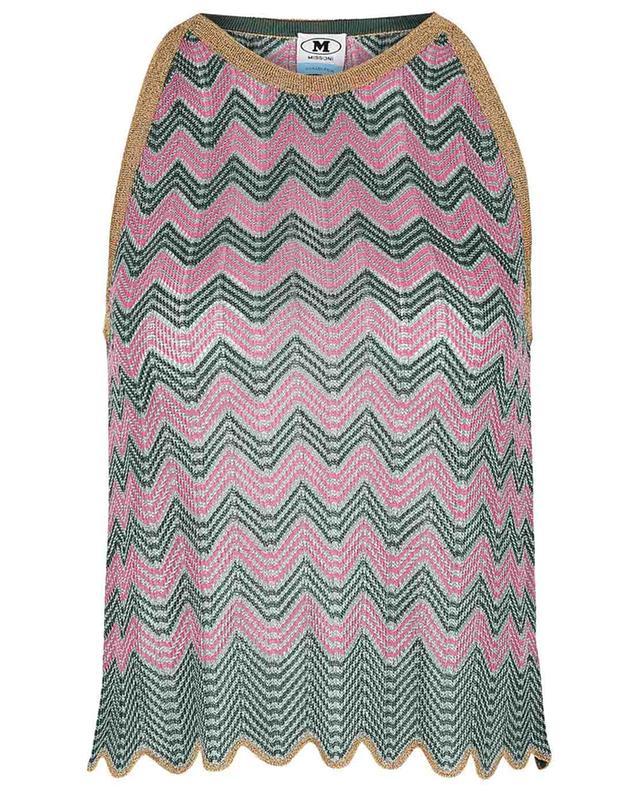 Top sans manches en maille ajourée motifs zigzag verts et roses M MISSONI
