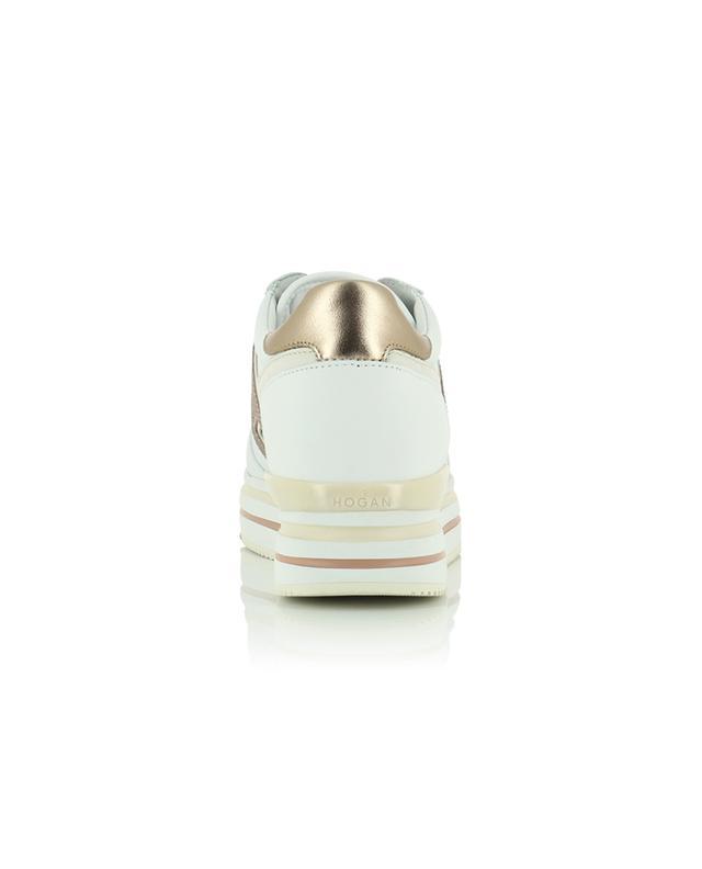 Baskets plateau en cuir blanc détail pailleté Midi H483 HOGAN