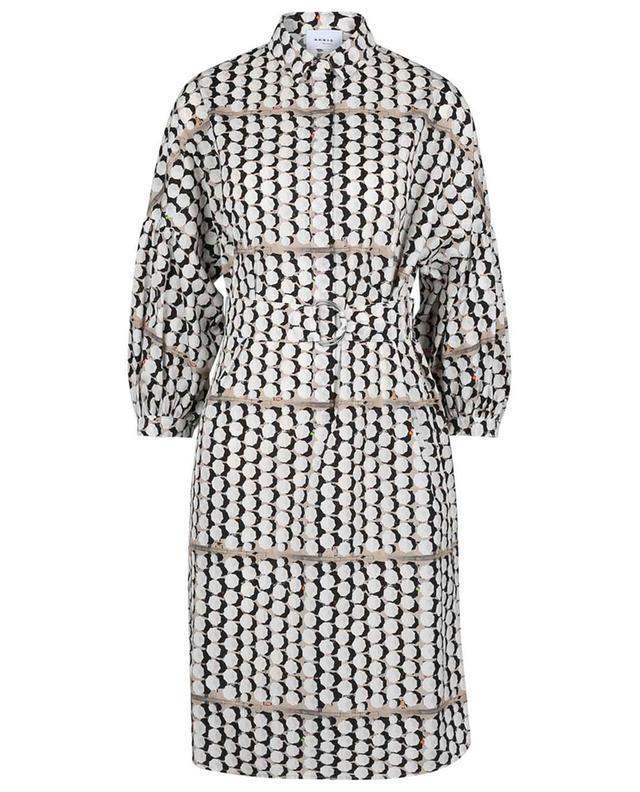 Shirt dress with kimono sleeves and umbrella print AKRIS PUNTO