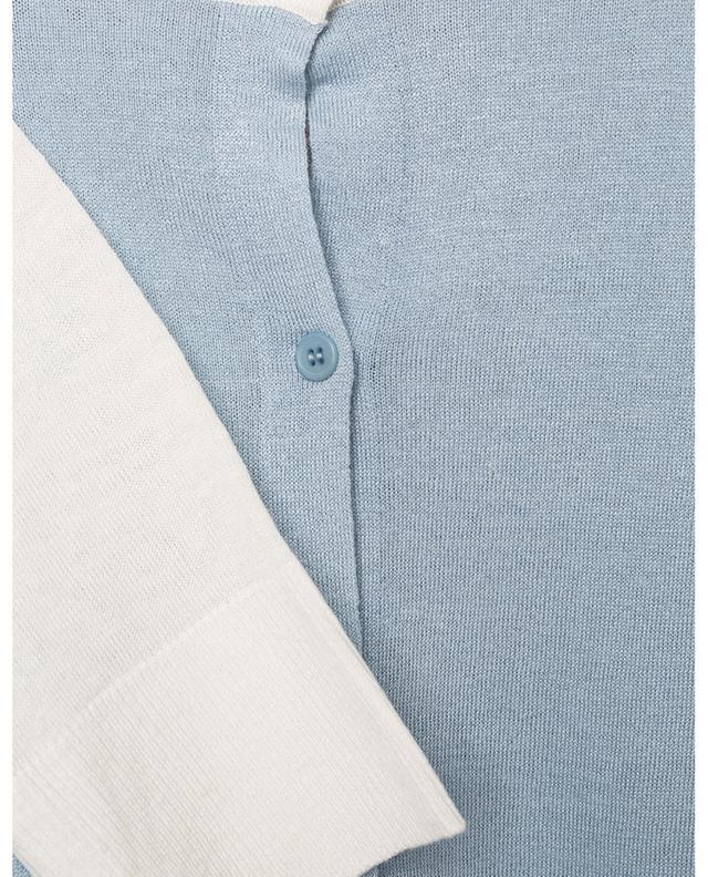 Cardigan bicolore à manches raglan en lin mélangé AKRIS PUNTO