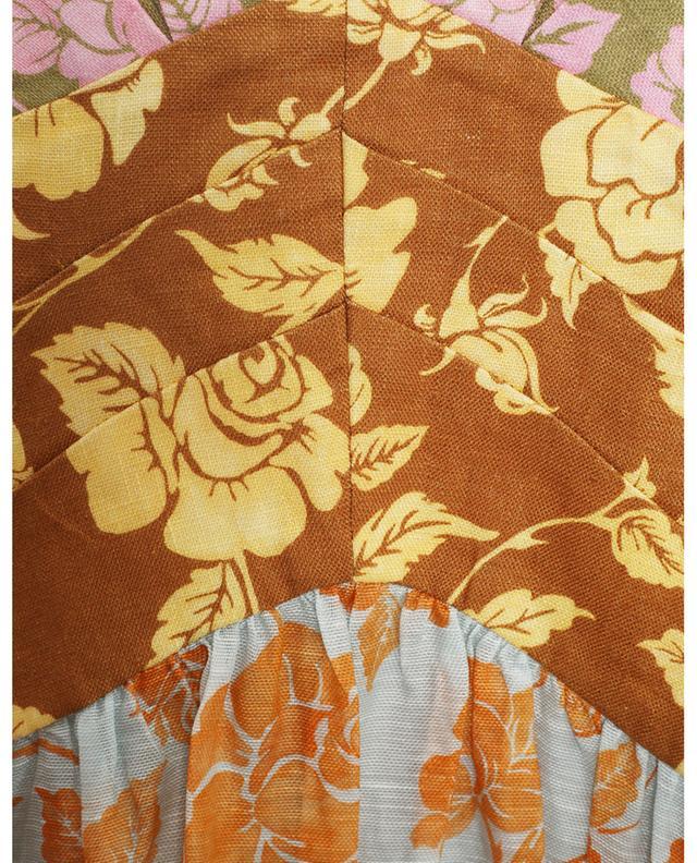 Robe dos nu midi en lin imprimé roses The Lovestruck V-Neck ZIMMERMANN