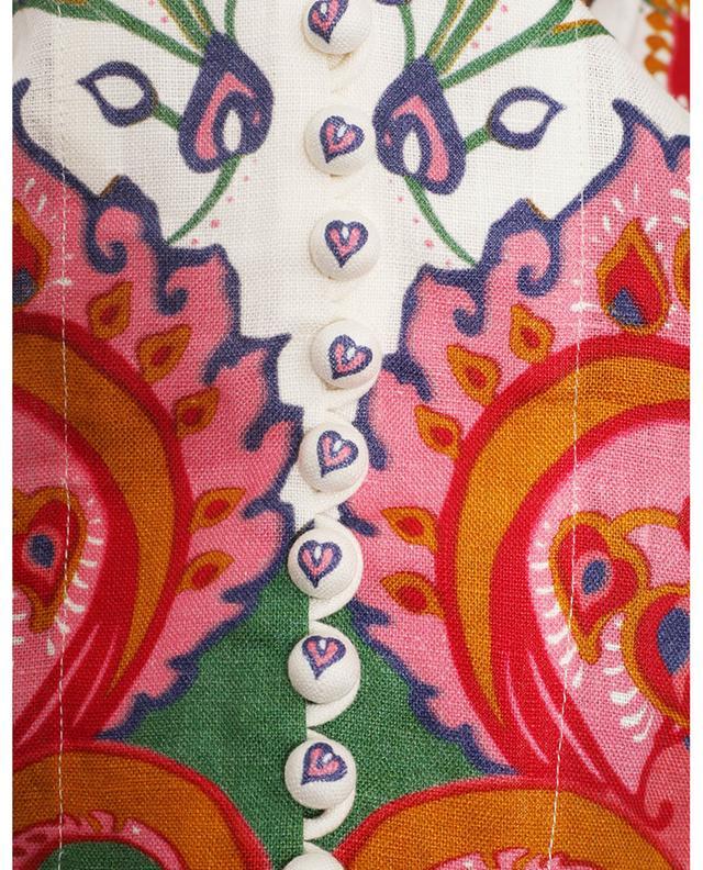 Robe midi en lin imprimé paisley The Lovestruck Buttoned ZIMMERMANN