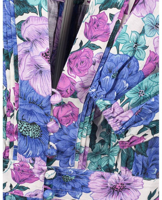 Robe midi en lin fleuri Poppy Plunge ZIMMERMANN