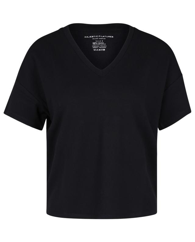 """T-shirt boxy col V French Touch """"Soft Touch"""" MAJESTIC FILATURES"""