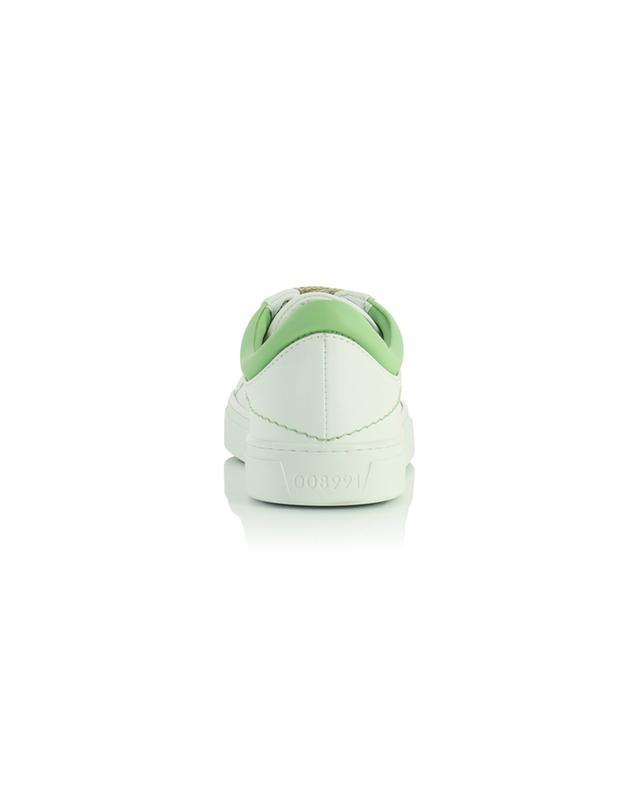 Baskets basses blanches en cuir végan détail verts Neven Stitch YATAY