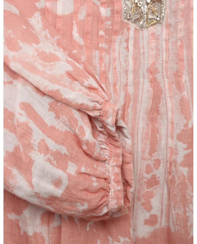 Blouse en lin imprimée batik brodée de perles 120% LINO
