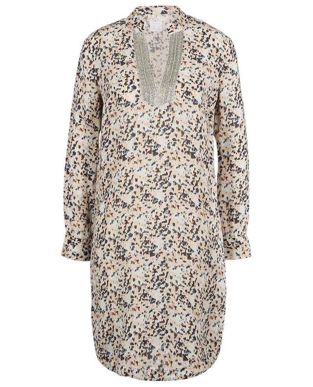 Robe tunique courte en lin imprimé animalier 120% LINO