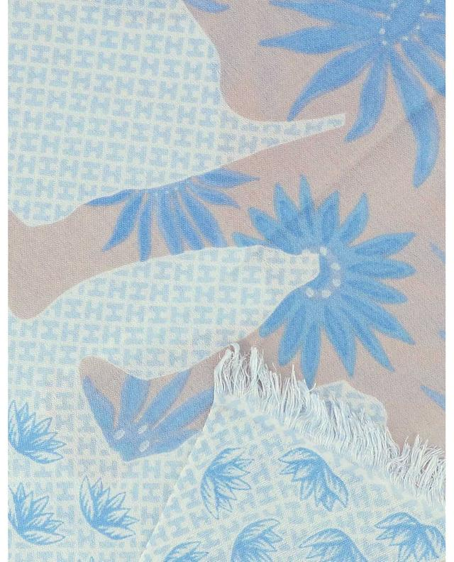 Écharpe imprimée éléphant et fleurs de lotus DancerWH HEMISPHERE