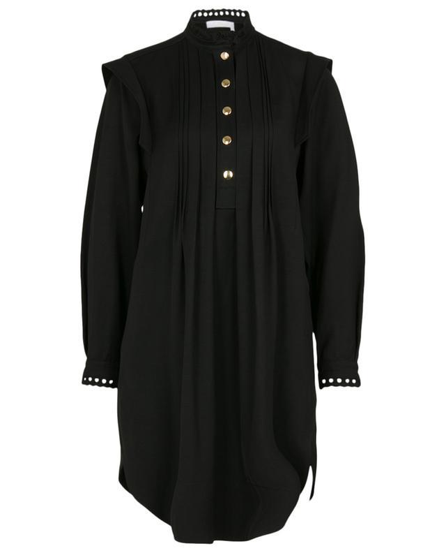 Mini robe trapèze en gabardine ornée de broderies anglaises CHLOE