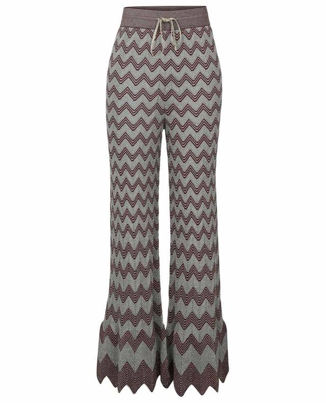 Pantalon évasé en maille scintillante motif zigzags M MISSONI