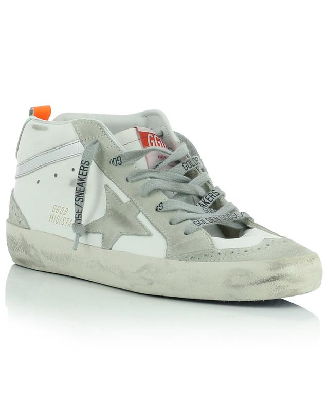 Mid/Star leather and suede high-top sneakers with neon accents GOLDEN GOOSE