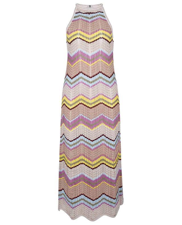 Longue robe sans manches en maille ajourée à motif zigzags M MISSONI