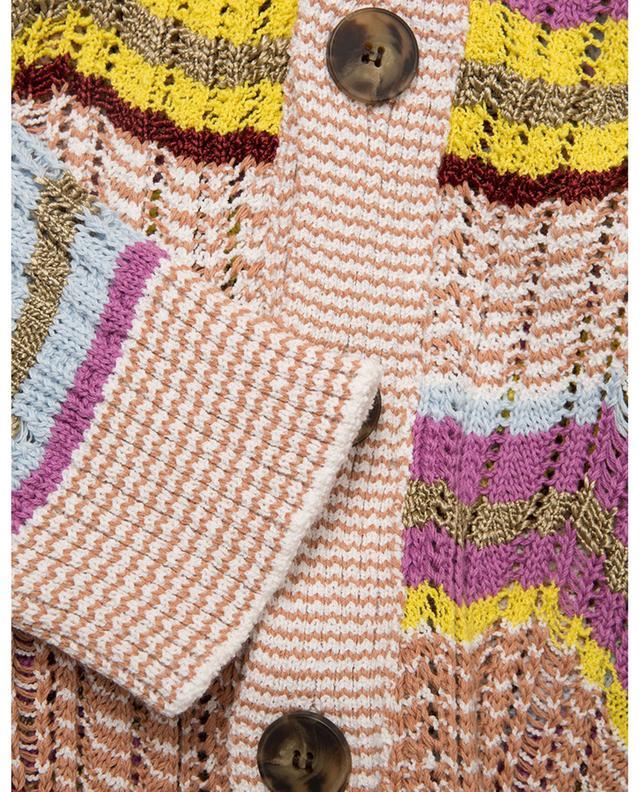 Cardigan ajouré côtelé motif zigzag multicolore M MISSONI