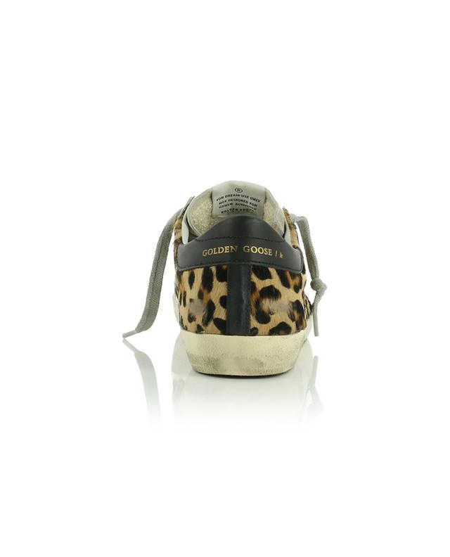 Baskets en cuir poulain imprimé léopard Super-Star GOLDEN GOOSE