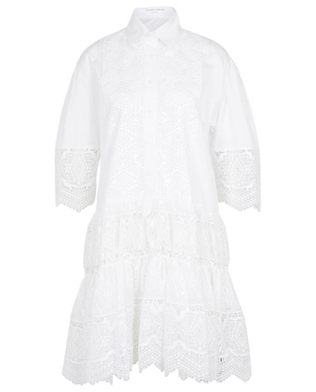 Robe chemise à volants étagés ornée de broderies ikat ERMANNO SCERVINO