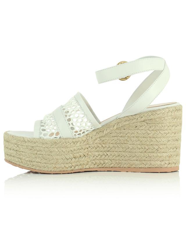 Sandales compensées en cuir et résille Solana GIANVITO ROSSI