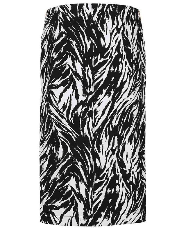 Jupe crayon à fentes latérales en toile imprimée zèbre N°21