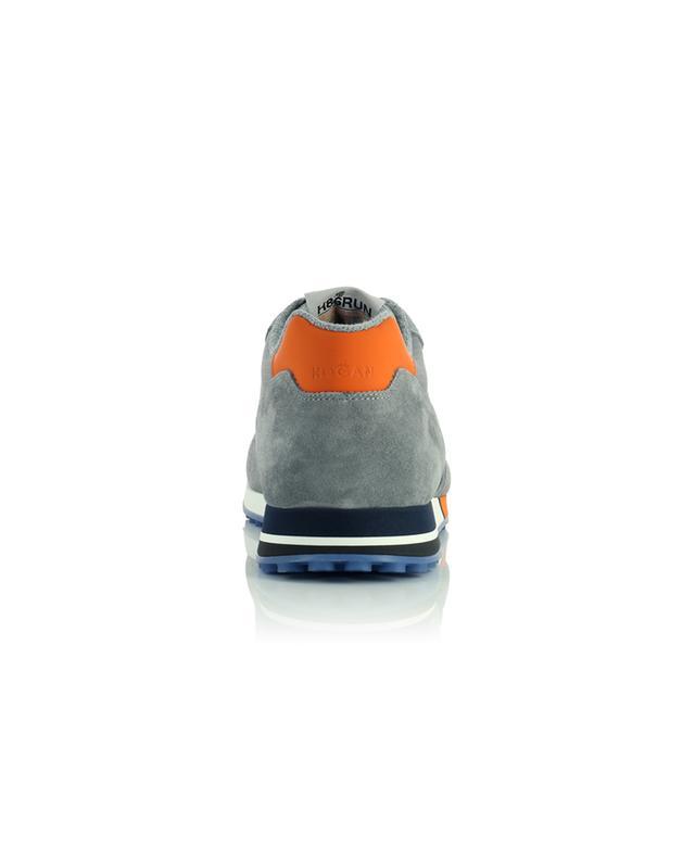 Baskets basses à lacets grises multi-matière accents oranges H383 Nastro HOGAN