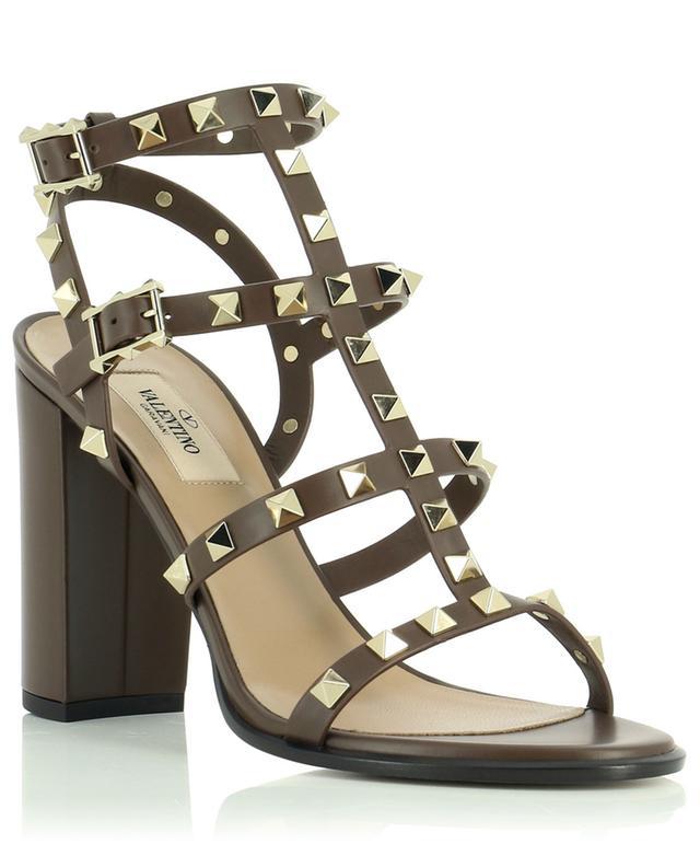 Sandales à talon en cuir avec clous Rockstud VALENTINO