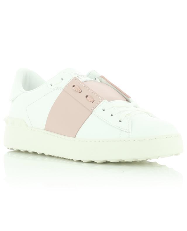 Baskets en cuir blanc et détail rose Open VALENTINO
