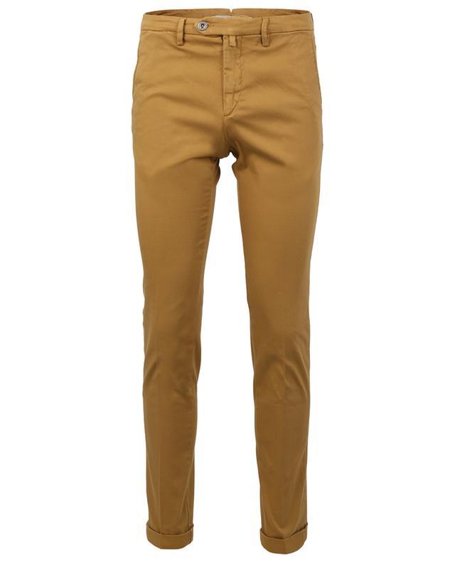 Pantalon slim à revers en coton effet piqué B SETTECENTO