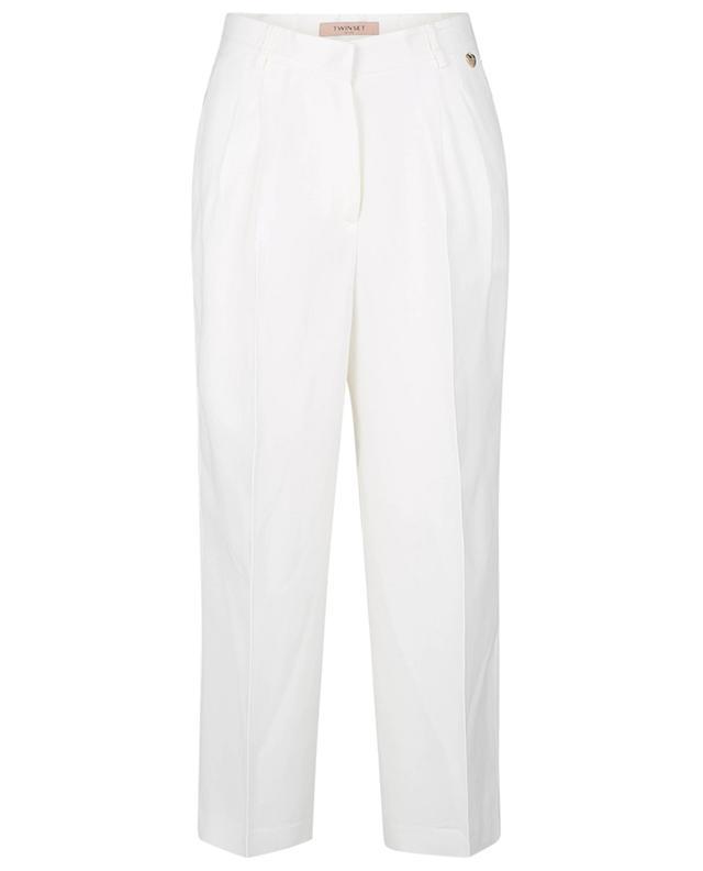 Pantalon large raccourci en viscose et lin TWINSET