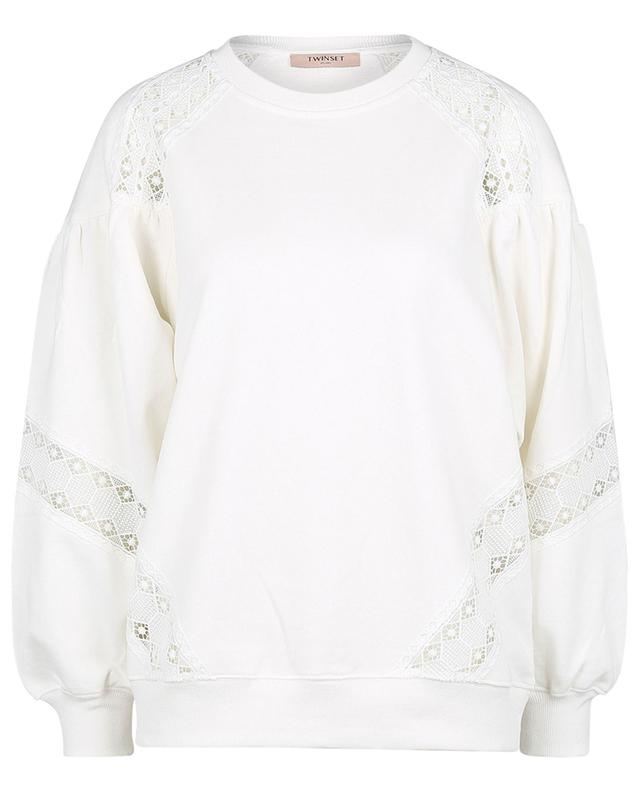 Sweat-shirt ample à col rond orné de macramé TWINSET