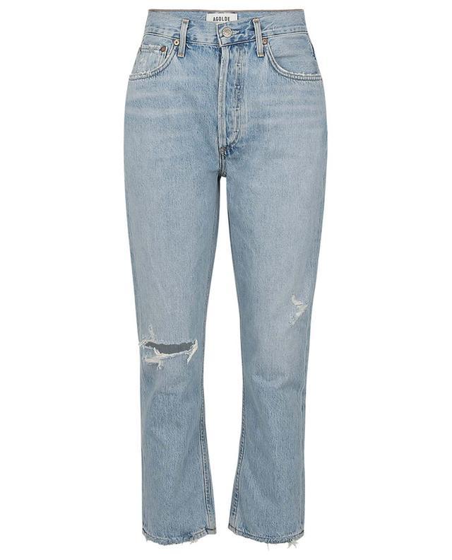 Verkürzte gerade zerrissene Jeans mit hohem Bein Riley Shatter AGOLDE