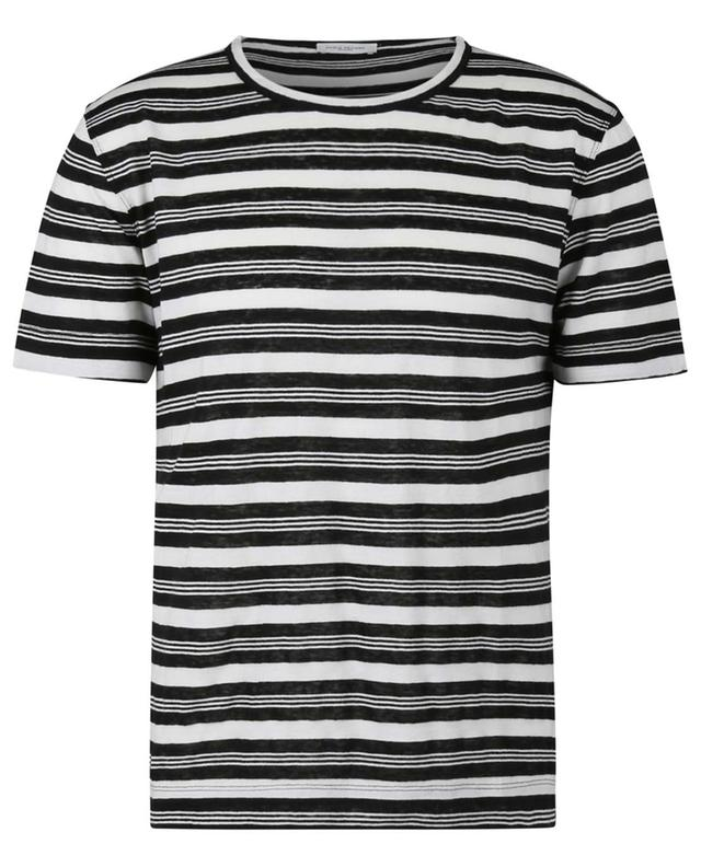 T-shirt rayé en jersey de lin et coton PAOLO PECORA