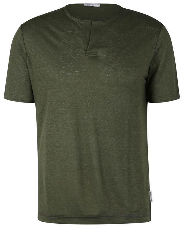 T-shirt à manches courtes en lin à col tunisien PAOLO PECORA