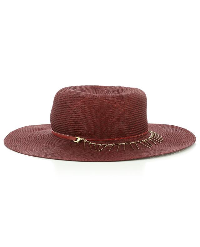 Natural fibre hat with chain detail GI'N'GI