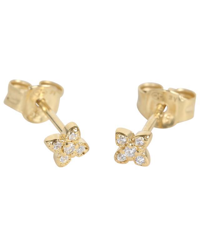 Clous d'oreilles dorés avec strass fleurs ROSE MARIE