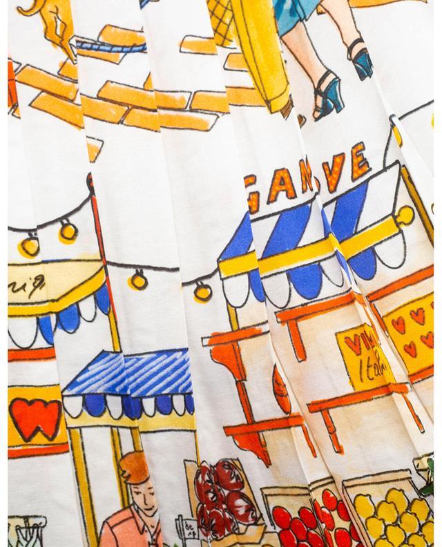 Jupe plissée en soie mélangée imprimée scène de marché Vegan Love ALESSANDRO ENRIQUEZ