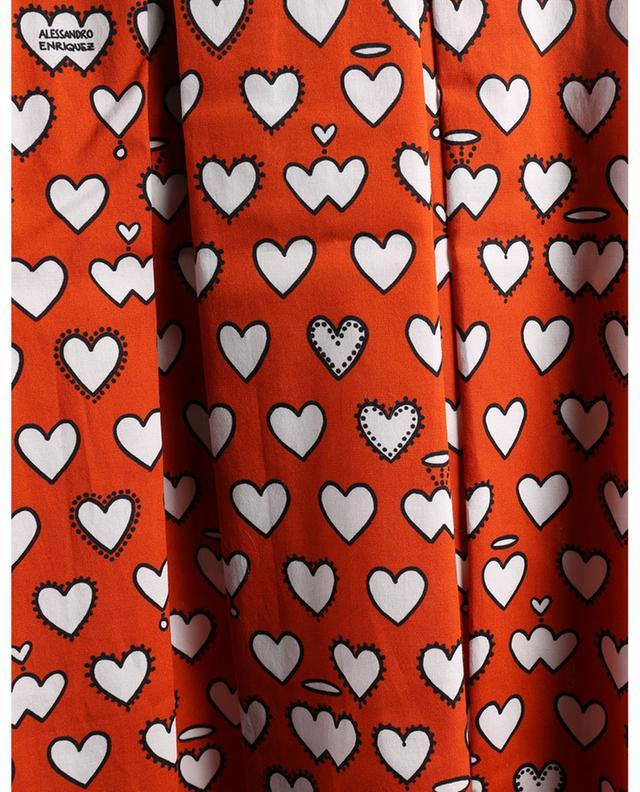 Jupe midi plissée en coton imprimée coeurs ALESSANDRO ENRIQUEZ